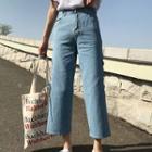 Cropped Slit-side Jeans
