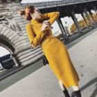 Turtleneck Knit Dress With Belt