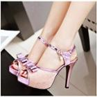 Faux Leather Bow-accent High-heel Sandals