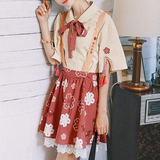 Cherry Blossom Print Jumper Skirt