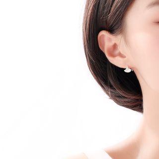 925 Sterling Silver Leaf Earring 1 Pair - Earrings - Ginkgo Leaf - One Size