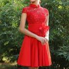 Short Sleeve Mandarin Collar A-line Cocktail Dress