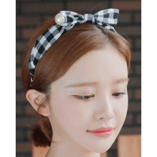 Faux-pearl Bow Check Wide Hair Band