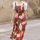 Short-sleeve Printed Single-breasted Midi Dress