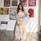 Floral Print Chiffon Dress Beige - One Size