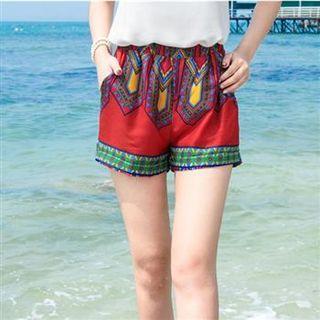 Elastic Waist Patterned Shorts
