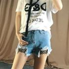 Fishnet Inset Distressed Denim Shorts
