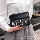 Studded Lettering Crossbody Bag