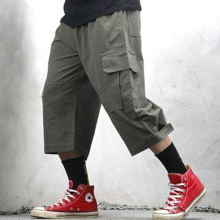 Wide-leg Cargo Capri Pants