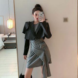 Ruffled Cropped Blazer / Sleeveless Tie-front A-line Dress