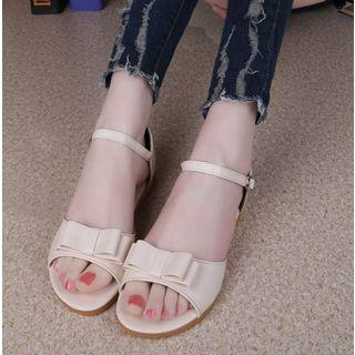 Bow Faux-leather Flat Sandals