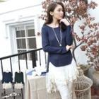 Long-sleeve Lace Hem Knit Top