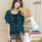 Short-sleeve Mock Two-piece Striped Top