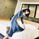 Long-sleeve Pleated Velvet Sheath Dress