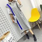 Number Sleeveless Hooded Dress