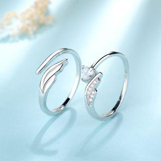 Couple Matching 925 Sterling Silver Feather / Rhinestone Open Ring