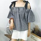 Gingham Off-shoulder Elbow-sleeve Blouse Black & White - One Size