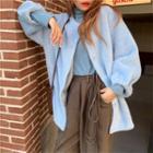 Fleece Button Jacket Light Blue - One Size