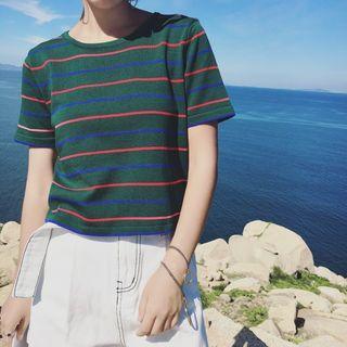 Short-sleeve Striped Knit T-shirt