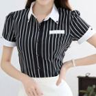 Striped Short-sleeve Chiffon Shirt