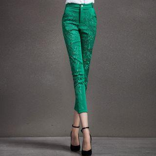 Beaded Cutout Slim-fit Cropped Pants
