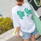 Round-neck Lettering T-shirt Green - One Size