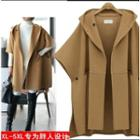 Plain Hooded Woolen Cape Coat