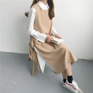 Plain Shirtdress / Knit Jumper Dress
