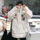 Applique Furry Zip Jacket