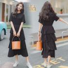 Short-sleeve Ruffled-layered A-line Dress