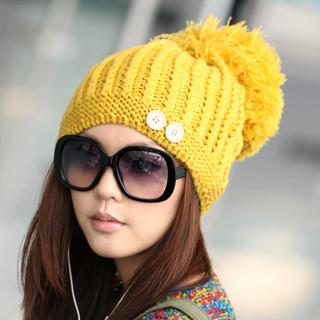 Pompom Beanie Yellow - One Size