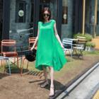 Sleeveless Asymmetric-hem Midi Dress