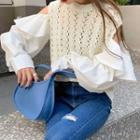 Long-sleeve Panel Pointelle Knit Top