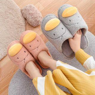 Duck Embroidered Furry Slippers