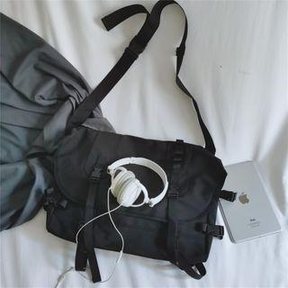Plain Nylon Messenger Bag Black - One Size