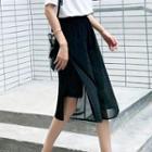 Sheer Overlay Wide-leg Shorts