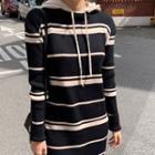 Hooded Striped Knit Dress Black - One Size