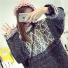 Patterned Panel Long Sweater