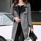 Belted-sleeve Double-breasted Coat