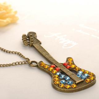 Diamond Guitar Necklace Copper - One Size