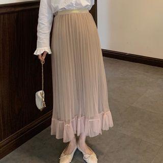 Glitter High-waist A-line Pleated Skirt