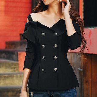 Off-shoulder Double-breasted Long-sleeve Top
