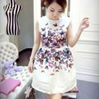 Sleeveless Butterfly-print Dress