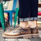 Genuine-leather Stitched Lace-up Oxfords
