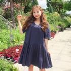 Stitched-trim Pleated-hem Dress