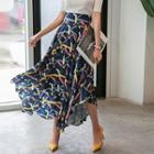 Geometric Pattern Long Flare Skirt
