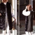 Faux-fur Long Vest Black - One Size