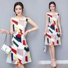 Sleeveless Sheath Patterned Dress