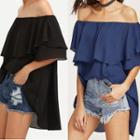 Off-shoulder Ruffle Trim Elbow-sleeve Top