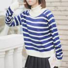 Striped Mock Neck Sweater Stripes - Blue & White - One Size